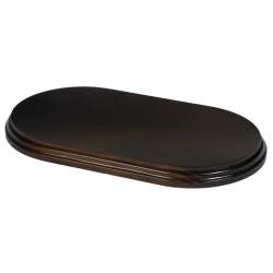 Peana rectangular cantos curvos barniz nogal. 35*20 cms.