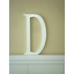 """Silueta letra grande """"D"""" lacada color blanco"""