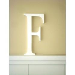 """Silueta letra grande """"F"""" lacada color blanco"""