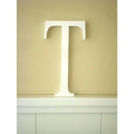 """Silueta letra grande """"T"""" lacada color blanco"""