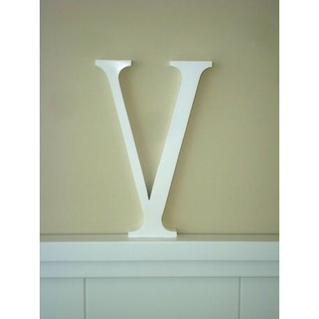 """Silueta letra grande """"V"""" lacada color blanco"""