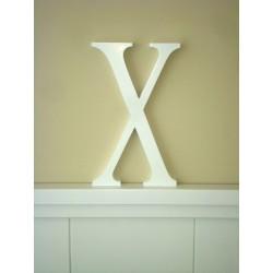 """Silueta letra grande """"X"""" lacada color blanco"""
