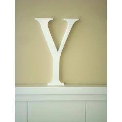 """Silueta letra grande """"Y"""" lacada color blanco"""