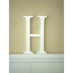 """Silueta letra grande """"H"""" lacada color blanco"""